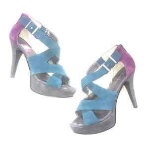 Nine West sailer fuchsia teal and gray suede heels